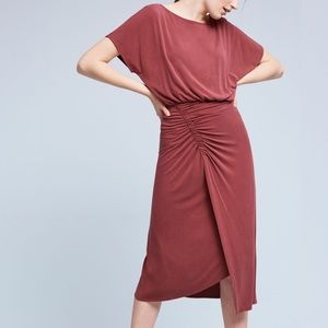 Anthropologie Etta Ruched Draped Jersey Midi Dress